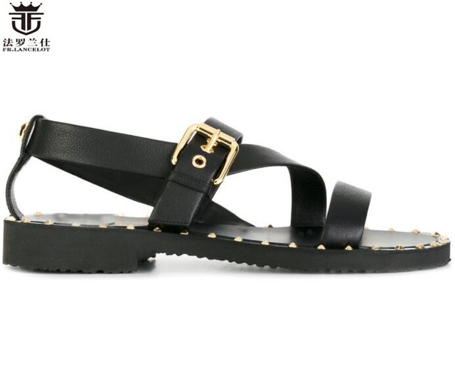 7e36553a83a8 LANCELOT Europe new 2019 men gladiator sandal flat heel summer shoes suede leather  sandals buckle thick heel causal flats