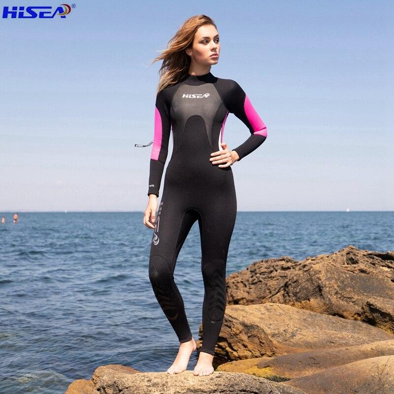 Hisea Professional 3mm Qadın Neopren Wetsuit Dalğıc kostyumu Elastik Yumşaq mayo və yabanı fermuar dalğıc kostyumu Avadanlıq bodysuit