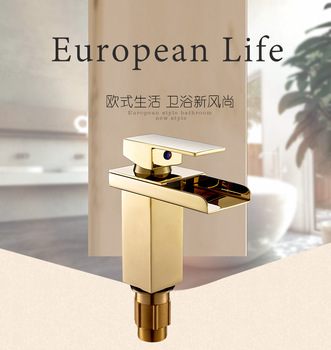 Free shipping Golden Waterfall Hot and cold water faucet mixer for bathroom Basin Sink By brass Material Dona 4013