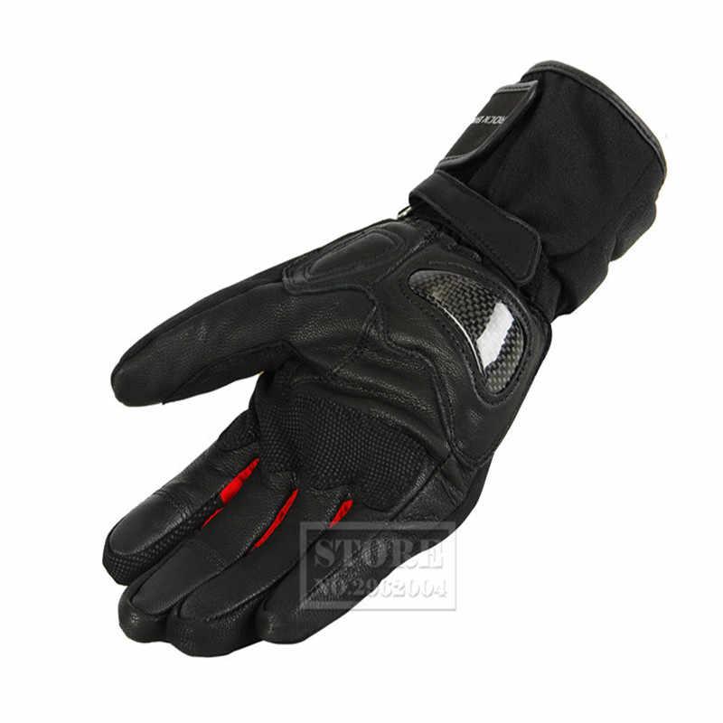 ロックバイカー冬のオートバイの手袋暖かいモトクロスモトバイクサイクリンググローブ luvas Guantes ML XL 黒、緑、赤
