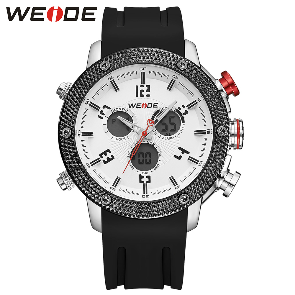 WEIDE Men Sport Watches LCD Digital Analog Date Day JAPAN Quartz Movement Water Resistant Alarm Silicone Strap Watches For Man weide brand irregular man sport watches water resistance quartz analog digital display stainless steel running watches for men