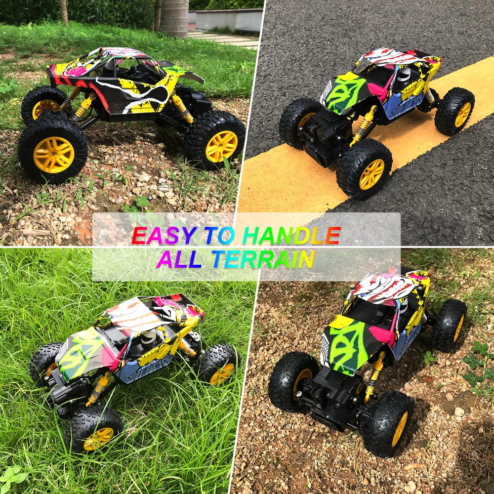 Image 3 - Remote Control Car 2.4GHz 4WD Off Road High Speed RC Car 1/18 Dual Motors Rock Crawler Graffiti Racing Monster Truck-in RC Cars from Toys & Hobbies