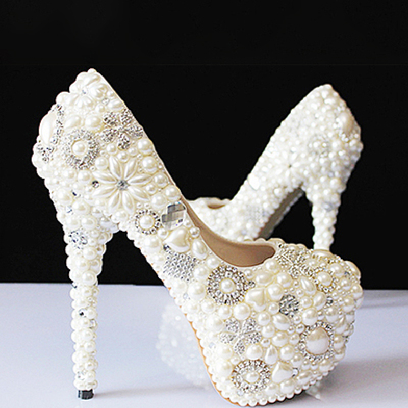 Spring summer autumn winter new crystal pearls white wedding bride pumps diamond handmade female super high heels women shoes new pink red rhinestone diamond bride s shoes super high heels crystal bowl wedding shoes elegant sandals female pumps feminina