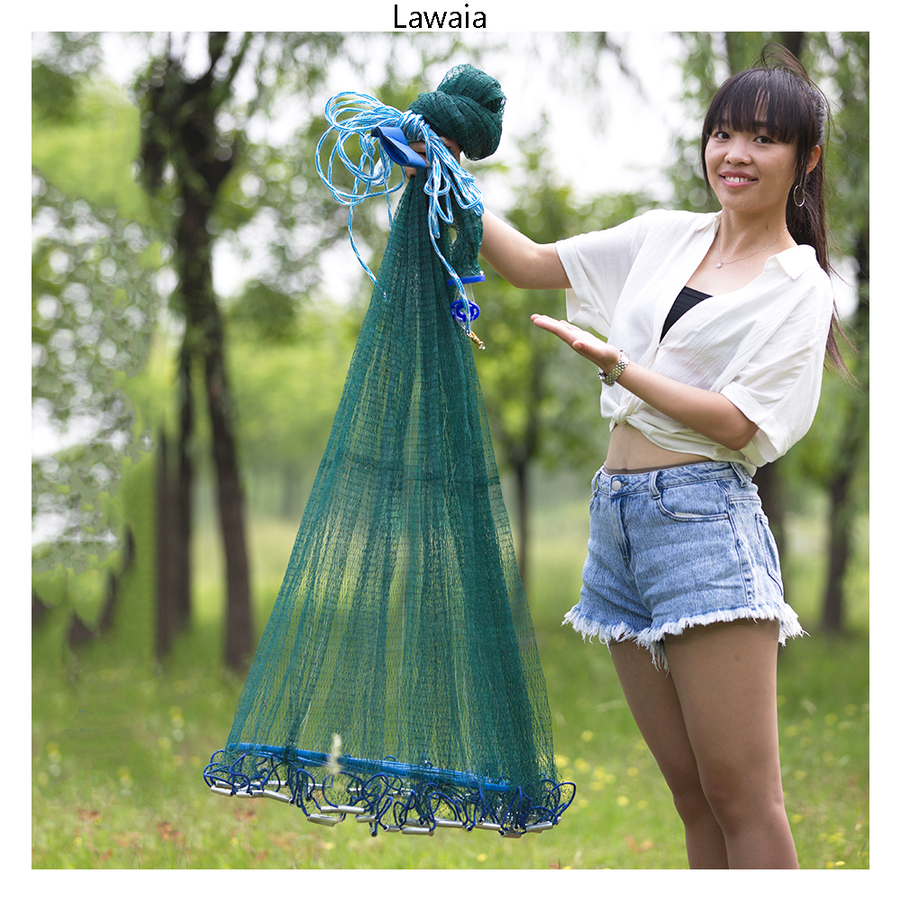 Lawaia Strong Fishing Net America Style Hand Throw Cast Nets For Fishing Durable Green Twisted Wire Fly Fishing Gear Blue Ring lawaia 25m long 1m high casting nets fishing nets pull pull net farms railing anti bird netting fish ponds dragnet