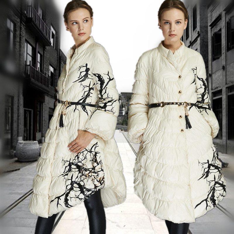 New! A 2016 Winter Jacket 90% Duck down parka women down jackets medium-long down coat women's print down coats Famous brand plus size 2016 winter jacket women down jackets women s down coat fur hood thicken coats medium long duck down outerwear parka