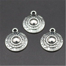 15pcs Antique silver Macedonia round shield charm necklace earrings DIY fashion jewelry alloy pendants A641 поло print bar macedonia