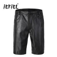IEFiEL Black Mens Faux Leather Regular Shorts Homens Zipper Closure Half With Pockets Shorts Men Clothing