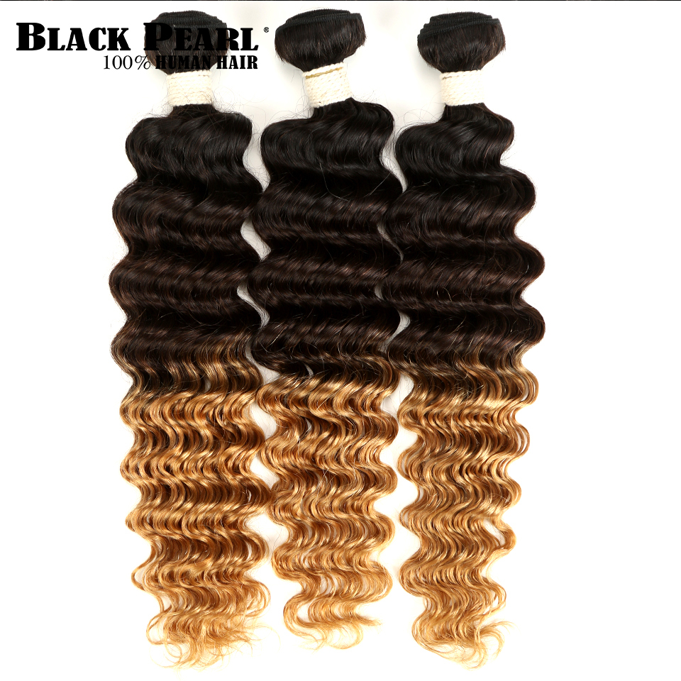 Black Pearl Ombre Deep Wave Brazilian Hair Weave Bundles T1B/4/27 Human Hair Three Tone Blonde Hair 1 / 3 / 4 Bundles Non-Remy