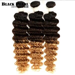 Image 1 - Czarna perła Ombre głęboka fala brazylijski włosy wyplata wiązki T1B/4/27 ludzki włos trzy Tone włosy blond 1 /3/4 wiązki nie Remy