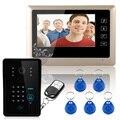 """Бесплатная Доставка! проводной 7 """"Видео-Телефон Двери Домофон RFID Клавиатуры Код Дверной Звонок Камера Monitor1000TVL Беспроводной открывает"""
