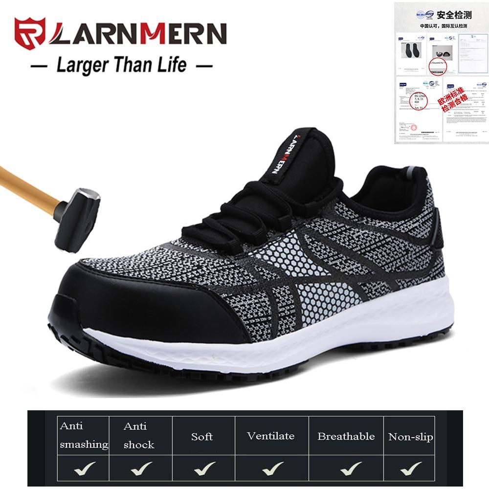 Tênis Casuais Segurança Leve Black Biqueira Calçados Sapatos Fly Stripe Tecido Grey Ultra Aço trabalho Reflexiva Homens Respirável De Larnmern Evqnqa