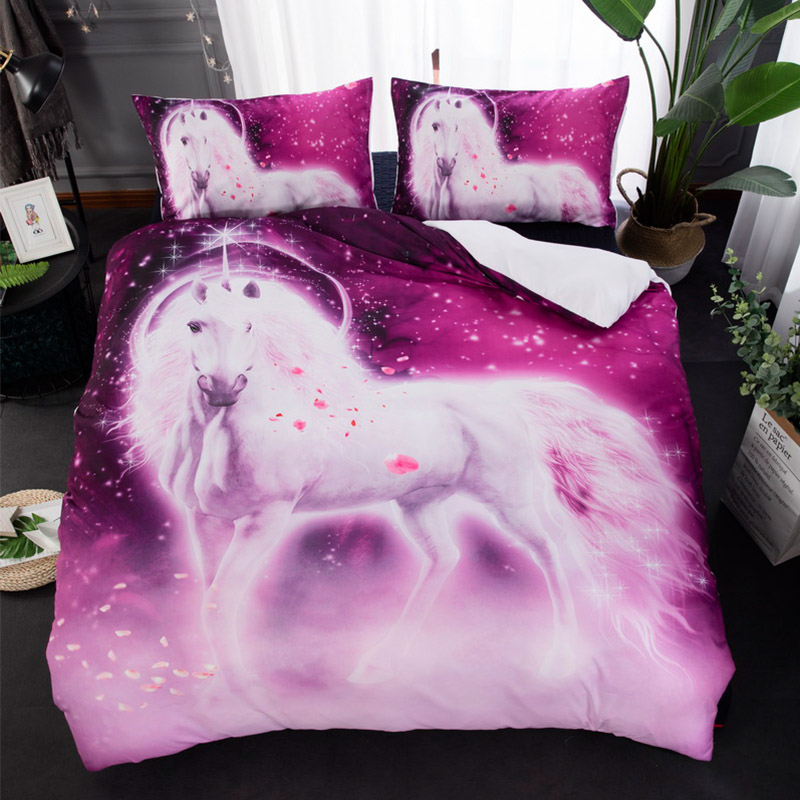 Bedding Sets Bedding Modest 3pcs/set White Horse Purple Comforter Bedding Sets Petal Unicorn Printed Bed Cover Duvet Cover Double Bed Sheets Home Textiles To Have A Long Historical Standing