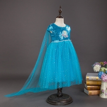 ФОТО halloween costume princess dress anna elsa dress girls princess sequinned skirt with cloak cotton lining