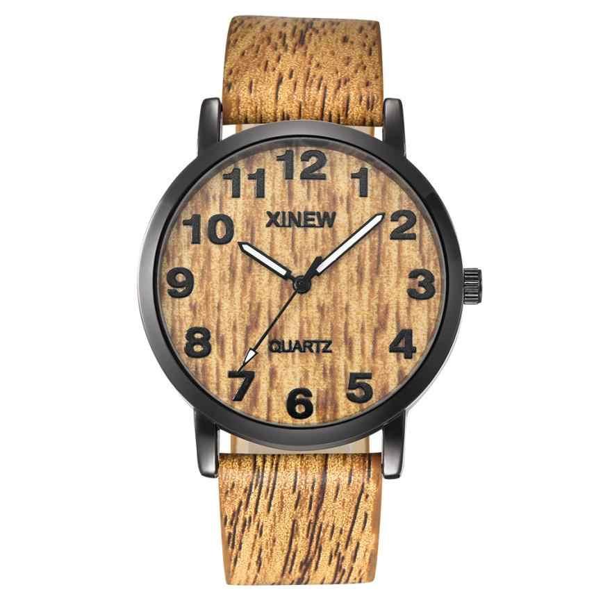 Momento N03 hombres reloj mujer relojes textura de madera de imitación reloj de madera Retro de cuero y cuarzo reloj mujer