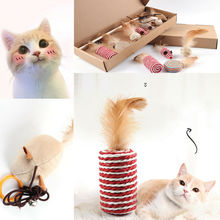 7 pcs/set Funny Pet Cat Kitten Teaser Stick Wire Chaser Wand Feather Plush Toy 2019 New