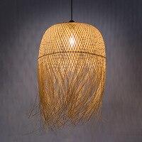 Japanese Bamboo Pendant Lights Led Hang Lamps for Home Luminaire Design Pendant Loft Hanging Lustre Suspension Fixtures
