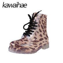 PVC Leopard Women Rain Boots Female Waterproof Rainboots Rubber Shoes Kawaihae Brand Knight Riding Boots
