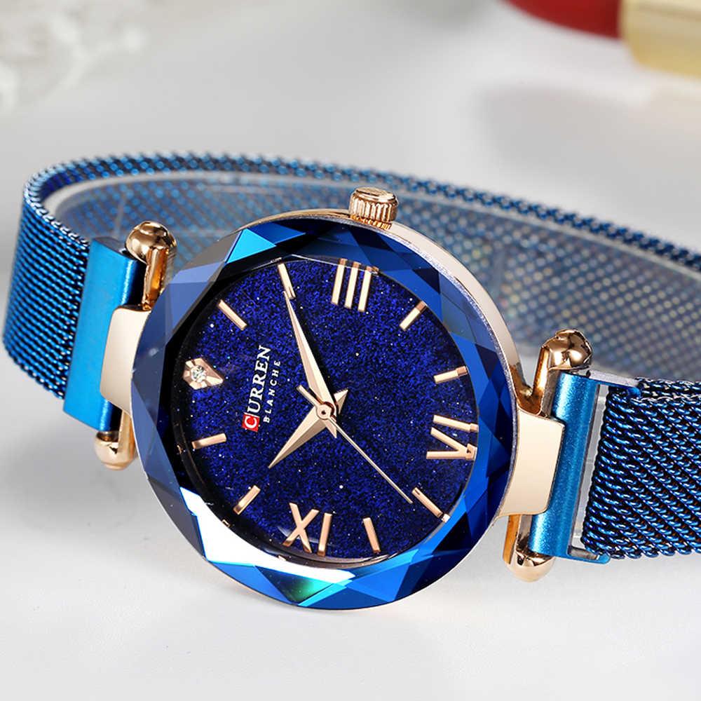 CURREN יוקרה נשים שעונים רשת גבירותיי שעון מגנט אבזם כוכבים יהלומים גיאומטרי משטח אופנה מקרית קוורץ שעוני יד