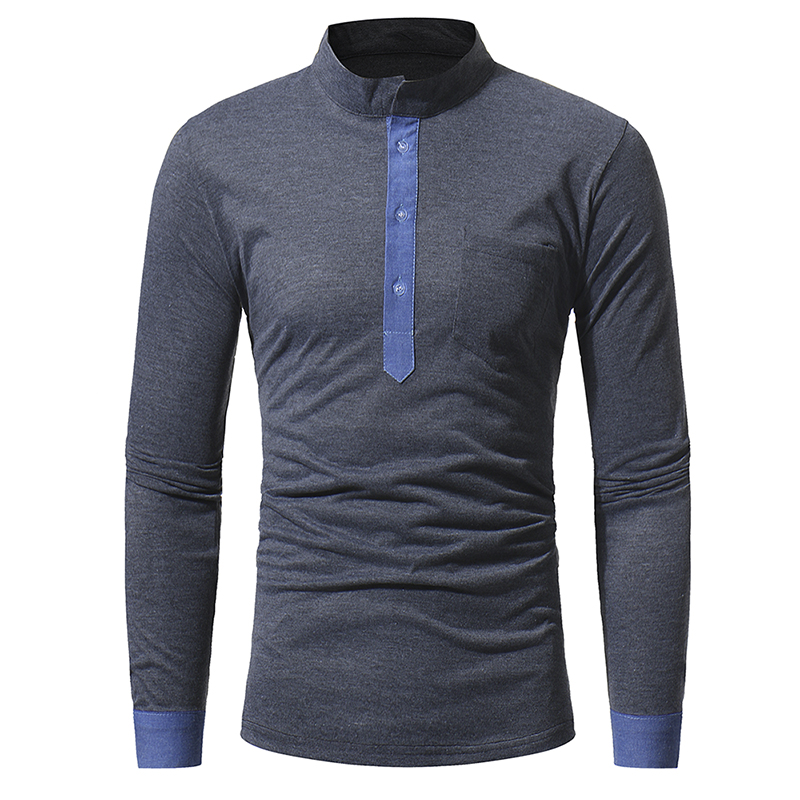 Mens   Polo   Shirt Brands 2018 Male Long Sleeve Casual Slim Classic Stand Collar Hit Color   Polos   Men   Polo   Shirt