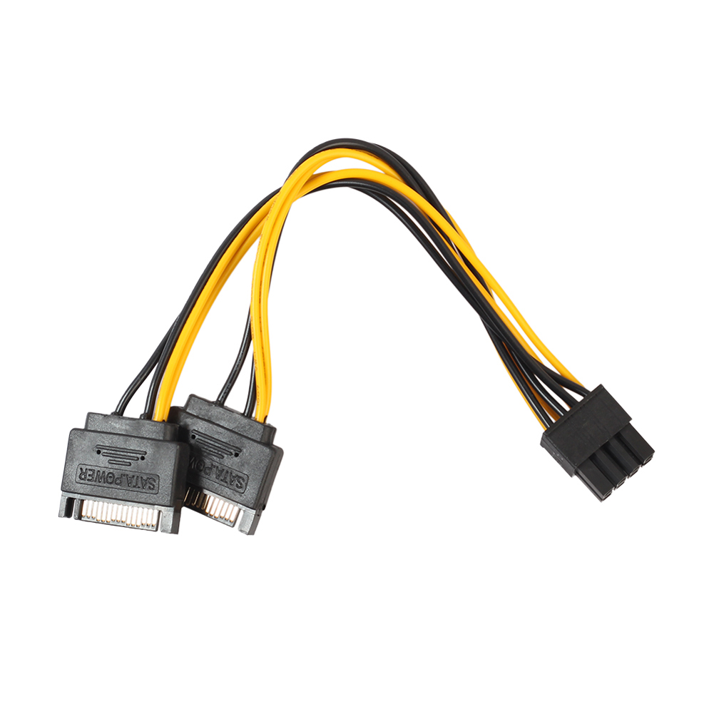 NEW Dual 15 <font><b>Pin</b></font> <font><b>SATA</b></font> Male to PCIe 8Pin(<font><b>6</b></font>+2) Male <font><b>Power</b></font> supply Adapter <font><b>Cable</b></font> High Quality 18AWG wire for Graphics Video Card image