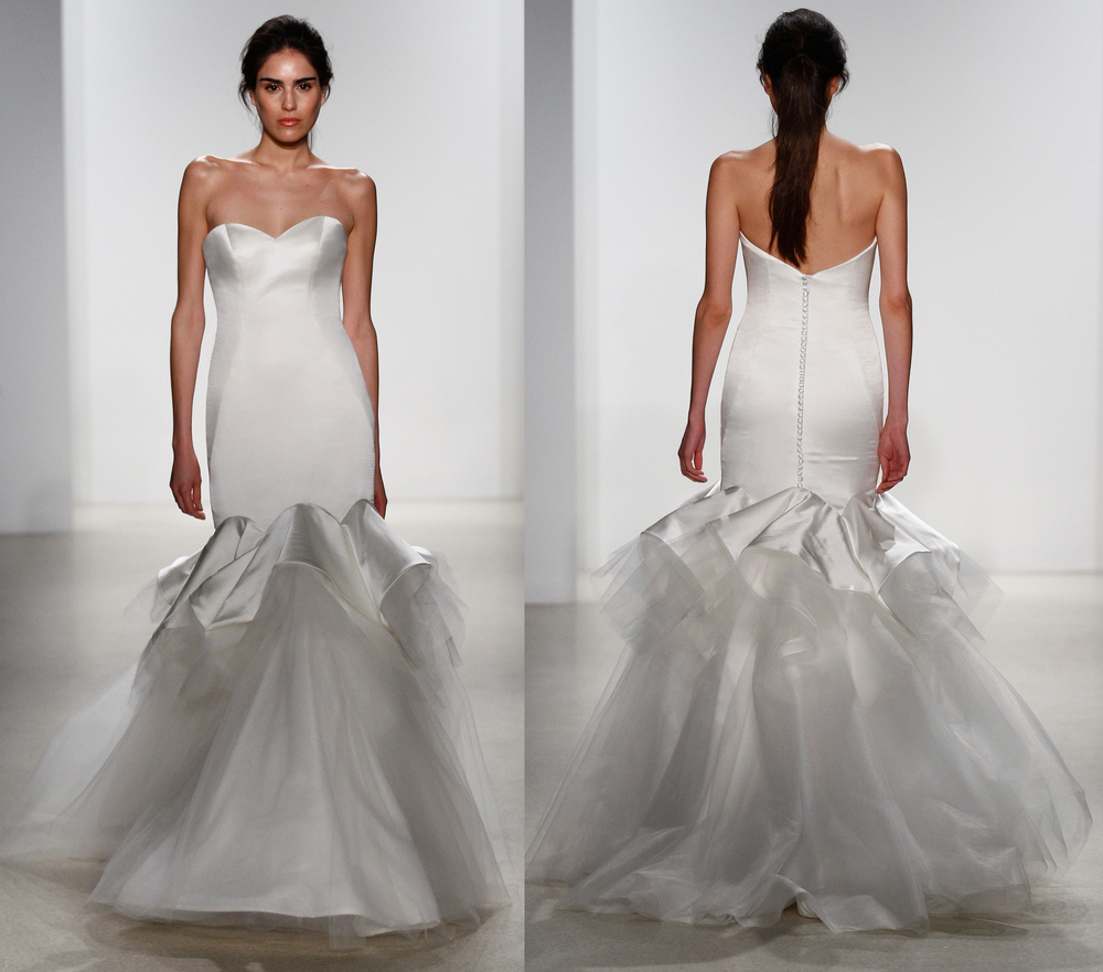 Real Brides Fit And Flare: 2016 Latest Fashion Wedding Dresses Strapless Silk Stretch