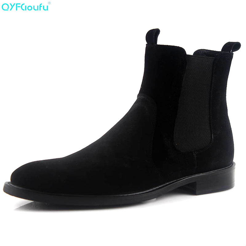 QYFCIOUFU Black Chelsea Boots For Men Genuine Leather Suede Dress Boots Shoes Luxury Brand Slip On Designer Ankle BootsQYFCIOUFU Black Chelsea Boots For Men Genuine Leather Suede Dress Boots Shoes Luxury Brand Slip On Designer Ankle Boots