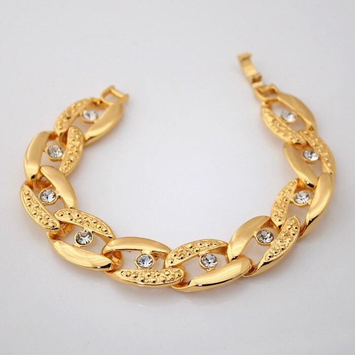 High Quality 18K Real Gold Plated Bracelets Bangles Rhinestone ...