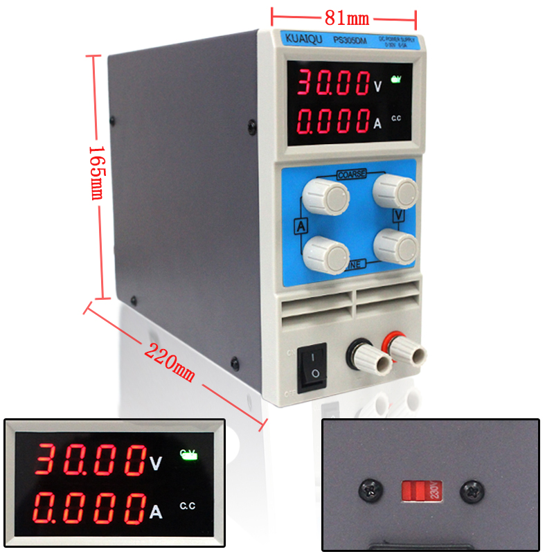 KUAIQU mini DC Power Supply,Four display Switching Power Supply Digital Variable Adjustable 0-30V 0-5A PS305DM four digit display rps3003c 2 adjustable dc power supply 30v 3a linear power supply repair