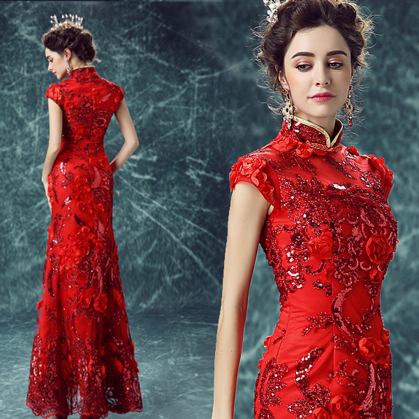 modern chinese oriental women long lace red traditional wedding qipao dresses cheongsam embroidered designer plus size