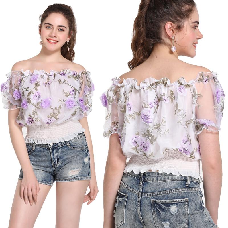 Léto nový příchod ženy módní krajka gáza 3D květ růže lomítko krk šifon vrcholy ženské prérie elegantní styl roztomilé krátké košile