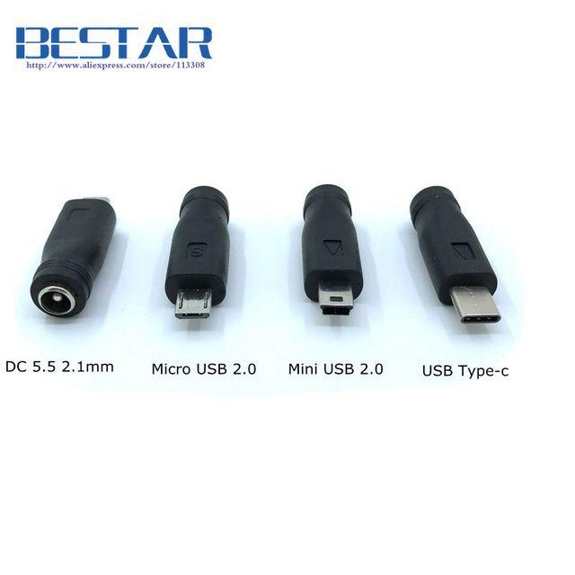 Tomada de energia, 5v dc 5.5*2.1mm usb 3.1 tipo c USB C 5.5mm * mini adaptador de conector usb, micro usb dc de 2.1mm