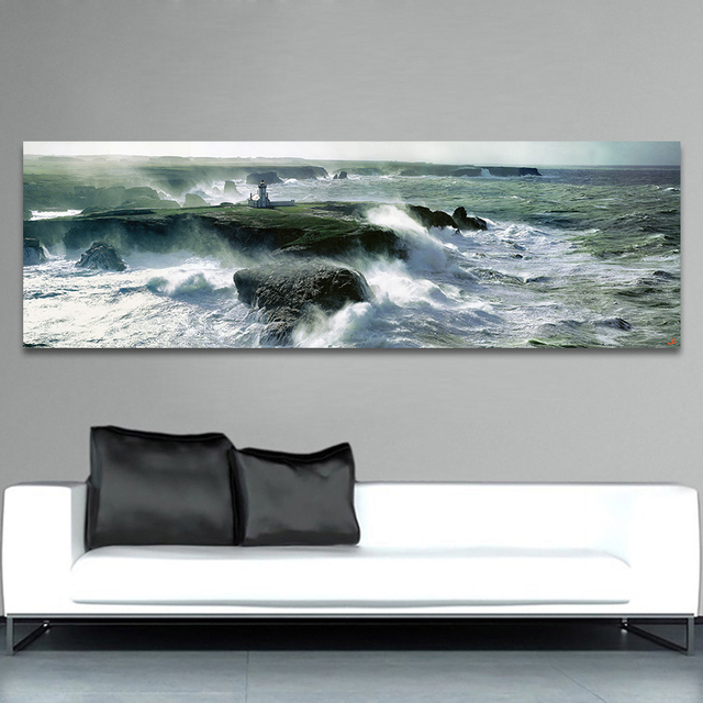HDARTISAN Wall Canvas Art Pictures For Living Room Home Decor Seashore  Seawave Landscape Photo Painting Church