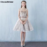 In Stock Illusion Neck And Back Knee Length Grey Lace Cheap Dresses Semi Formal Homecoming Dress