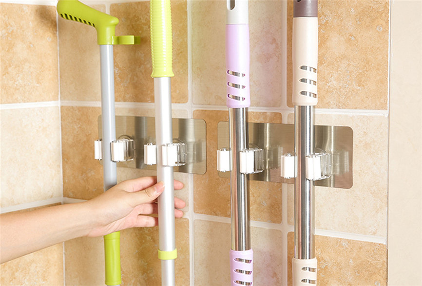 Wall Mounted Mop Broom Holder With Hanging Pipe Hooks Used As Kitchen Tool 1