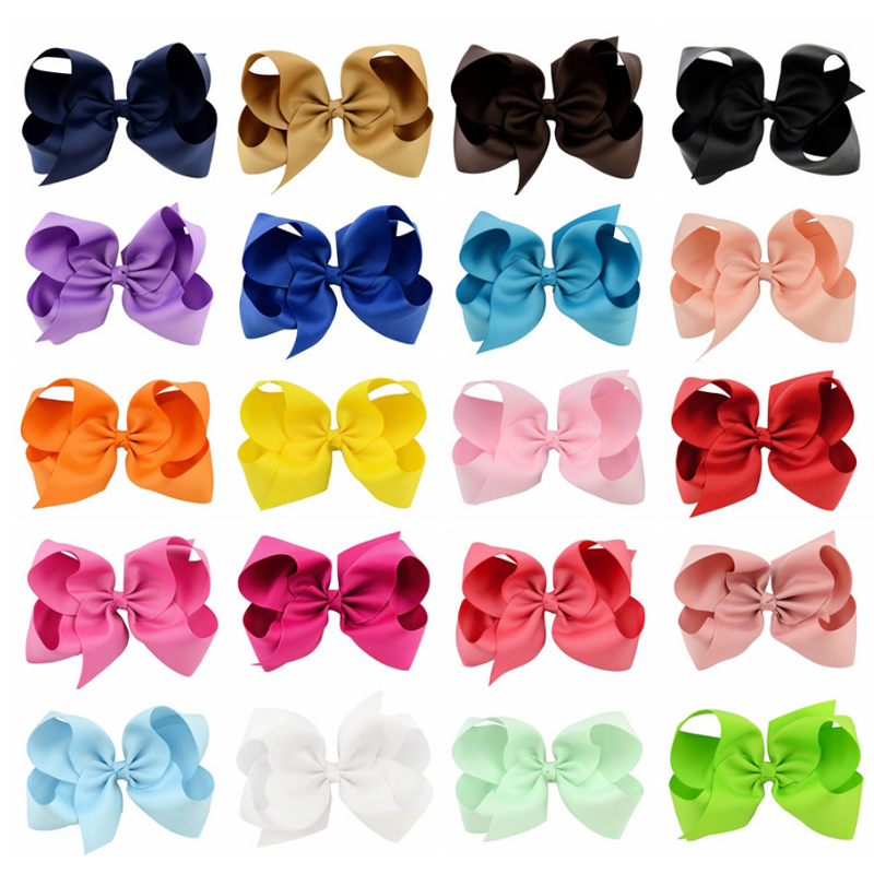 16pcs Grosgrain Ribbon 6'' Large Boutique Hair Bows Alligator Hair Clips For Princess Girls 6 Inch Big Bowknots Hair Accessories usd1 69 pc 5inches big stacked boutique bows with 6cm hair clip hairpin 8 colors solid grosgrain ribbon bows hair accessories