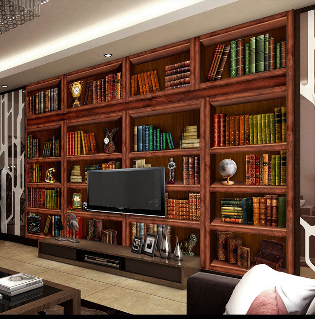 Popular bookshelves living room buy cheap bookshelves for Bookshelf mural wallpaper