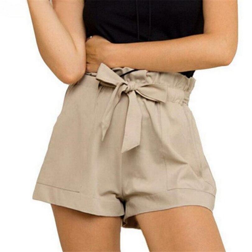 VISNXGI Hot Summer Casual Shorts Beach High Waist Short Fashion Lady Women Bow Belt Ruffled Linen Cotton Ladies Wide Leg Shorts