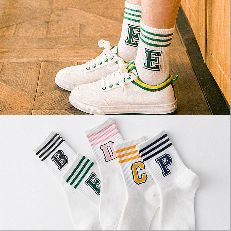 Letter and stripe pattern women Cotton   Sock   Wholesale Casual female   Sock   couples with Harajuku cute style short   socks