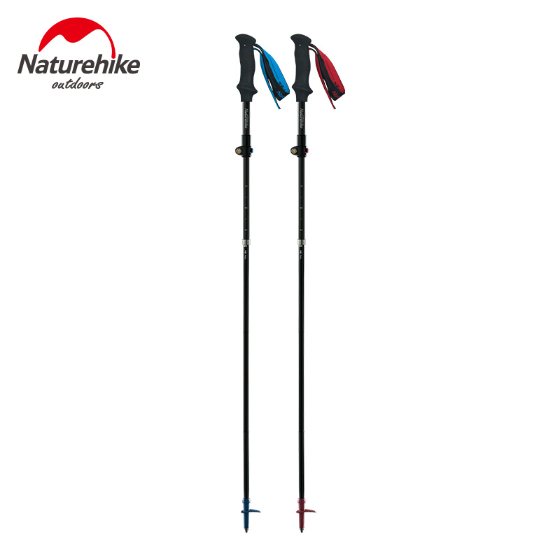 Naturehike Ultralight 5 sections Foldable Adjustable Trekking Poles Carbon Fiber Walking Hiking Sticks NH18D010 Z