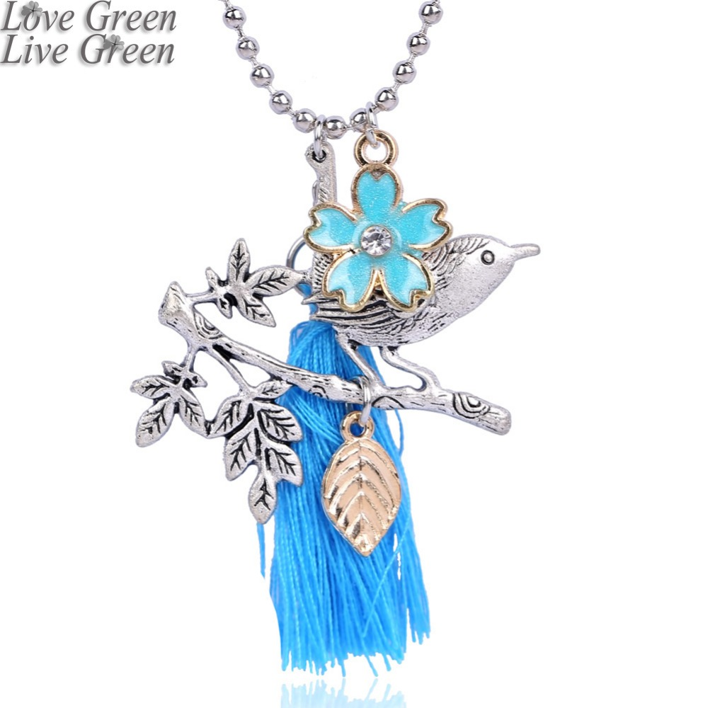 Long Tassel Cloisonne craft blue style Necklace life tree pendant Necklace Girlfriend birthday Gift jewelry 3590