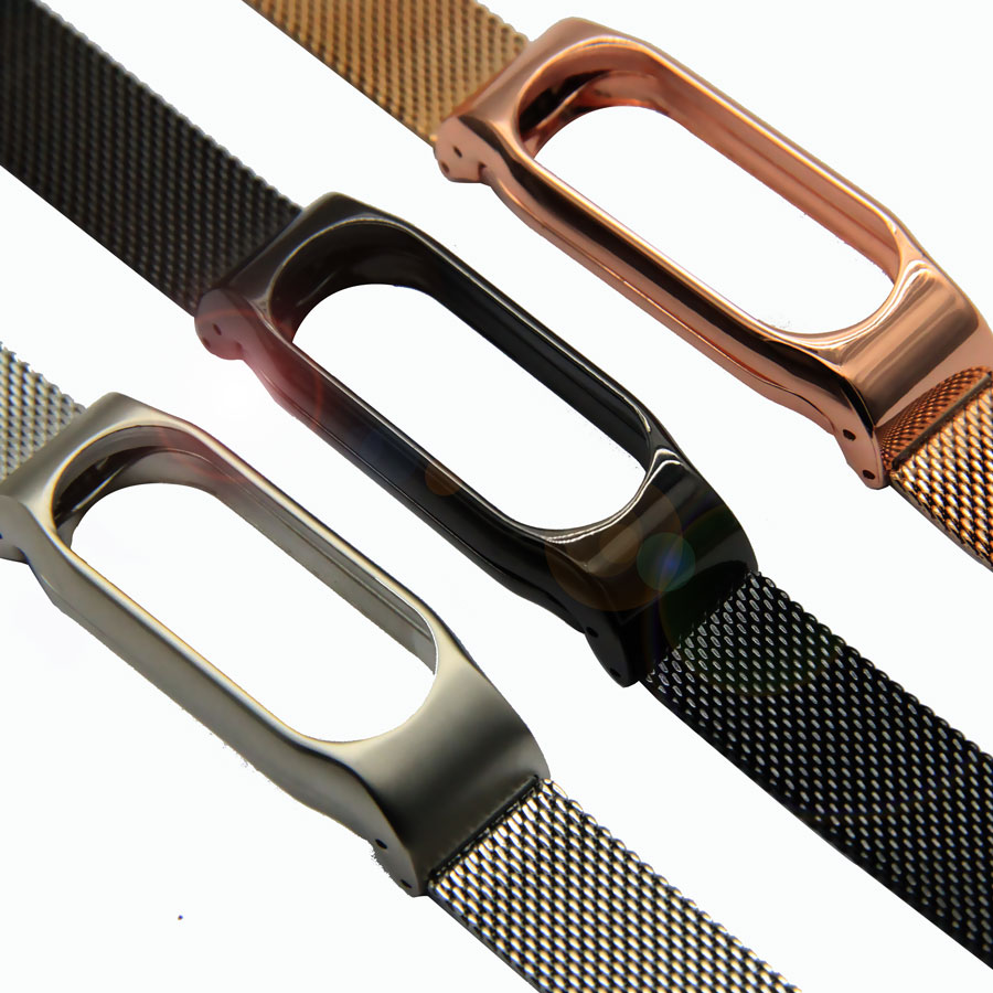 Foonbe Screwless for Xiaomi Mi band 2 Metal Strap Stainless Steel Miband 2 Wrist Band Bracelet Black Silver Gold