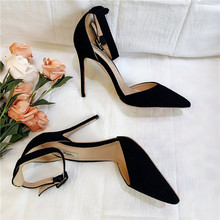 Free shipping fashion women Pumps lady Black suede strappy Pointy toe high heels shoes size33-43 12cm 10cm 8cm Stiletto heeled fashion sweet women 10cm high heels pumps female sexy pointed toe black red stiletto high heels lady pink green shoes ds a0295