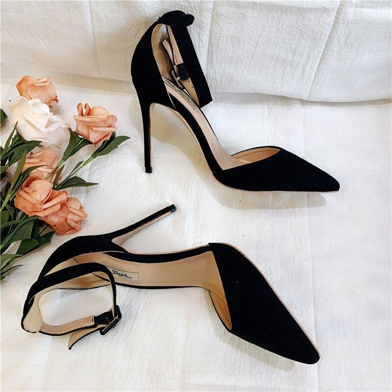 Livraison gratuite mode femmes pompes dame en daim noir à bretelles bout pointu chaussures à talons hauts size33 43 12 cm 10 cm 8 cm talon aiguille-in Escarpins femme from Chaussures    1