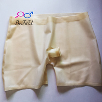 New design latex shorts boxes fetish underpants Bermuda men with hole for penis security sexy safe pants transparent natural
