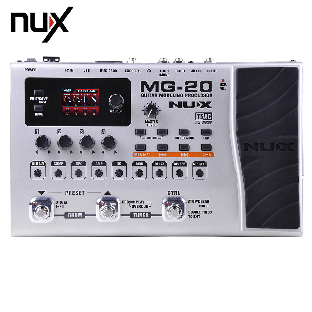 NUX MG-20 Guitar Modeling Processor Drum Pattern Switch Pedal 60 Effect Models,Solo, Tapo, Delay nux mg 20 electric guitar multi effects pedal guitarra modeling processor with drum machine eu plug
