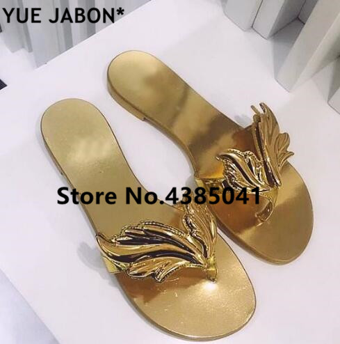 Leaves Flip Flops Womens Sandals Fashion Silver Gold Angel Wings Lady Flats Sandals Shoes Rome Designed