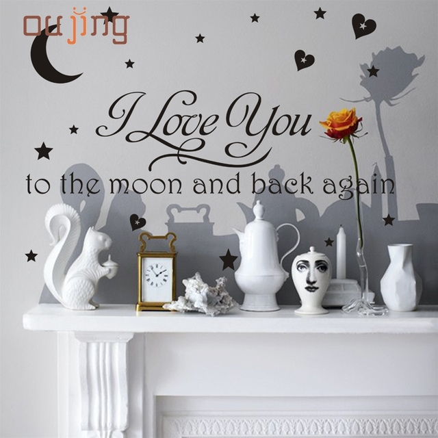 Prevalent 2017 1x i love you to moon and back again wall sticker art home kitchen