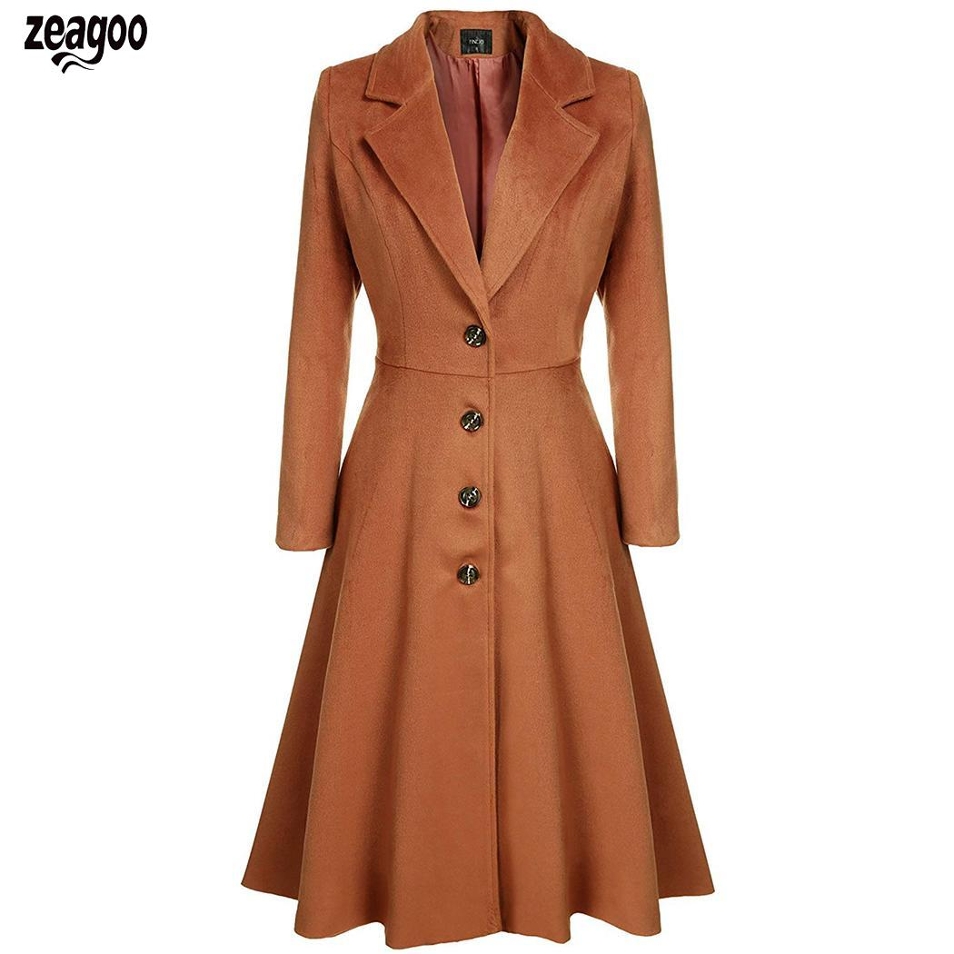 Women Casual Turn-Down Collar Long Sleeve Solid Button Closure Swing Hem Casaul Long   Trench   Winter Coat