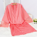 Ladies Sexy Silk Satin Kimono Robe Lace Night Robe Fashion Bridesmaid Robe Short Bathrobe Bath Robe Soft Dressing Gown For Women