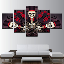 Canvas Wall Art Pictures Living Room Framework 5 Pieces Skull Gentleman And Roses Painting HD Prints Halloween Poster Home Decor